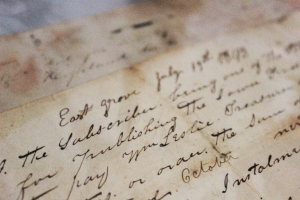 On display at East Grove Farms are collections from the family history, including these original letters dated 1849.